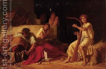 David playing the Harp before Saul by Ivan Ivanovich Tvorozhnikov - Reproduction Oil Painting