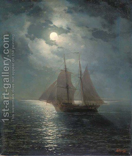 A moonlit sail by Ivan Konstantinovich Aivazovsky - Reproduction Oil Painting