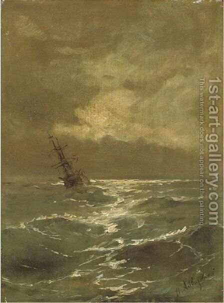 A brig at anchor by Ivan Konstantinovich Aivazovsky - Reproduction Oil Painting