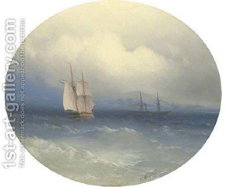 A Dutch brigatine and steamer at sea by Ivan Konstantinovich Aivazovsky - Reproduction Oil Painting