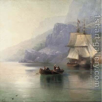 A fishing boat with a Russian merchant brig at anchor by Ivan Konstantinovich Aivazovsky - Reproduction Oil Painting