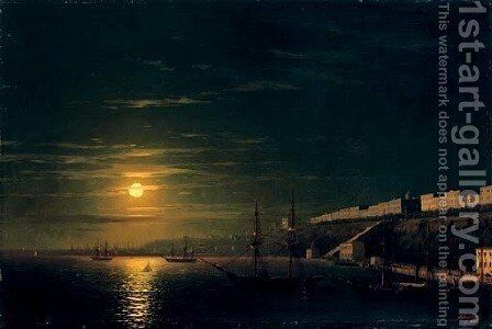A moonlit view of Odessa from the Black Sea by Ivan Konstantinovich Aivazovsky - Reproduction Oil Painting