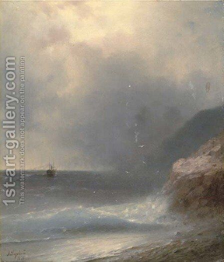 A shipping vessel off the coast by Ivan Konstantinovich Aivazovsky - Reproduction Oil Painting