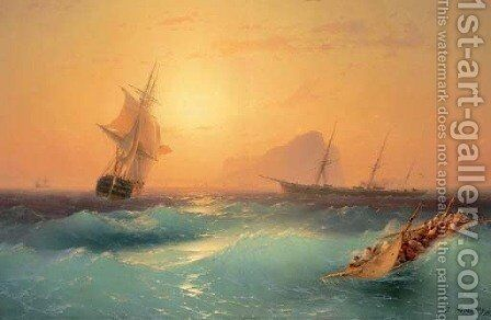 American Shipping off the Rock of Gibraltar by Ivan Konstantinovich Aivazovsky - Reproduction Oil Painting