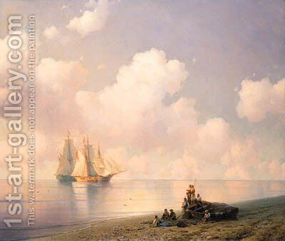 Becalmed on the Coast by Ivan Konstantinovich Aivazovsky - Reproduction Oil Painting