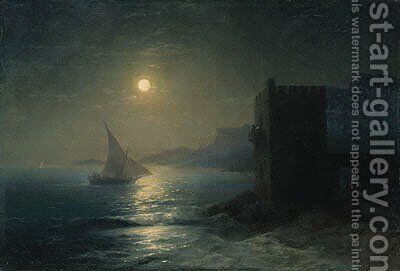 Coastal Fortress with Felucca by Moonlight by Ivan Konstantinovich Aivazovsky - Reproduction Oil Painting