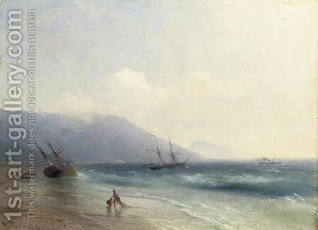 Fishermen on the Crimean coast by Ivan Konstantinovich Aivazovsky - Reproduction Oil Painting