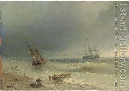 Going aground by Ivan Konstantinovich Aivazovsky - Reproduction Oil Painting