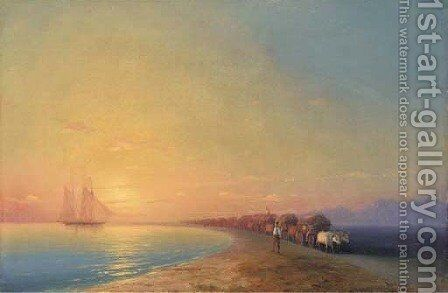 Ox train on the sea shore by Ivan Konstantinovich Aivazovsky - Reproduction Oil Painting