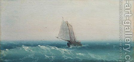 Ship in calm sea by Ivan Konstantinovich Aivazovsky - Reproduction Oil Painting