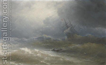 Survivors in a stormy sea by Ivan Konstantinovich Aivazovsky - Reproduction Oil Painting