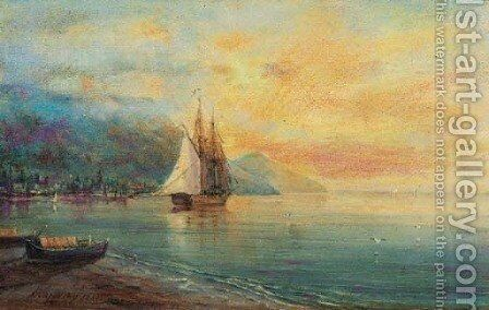 Tranquil Dawn on the Black Sea Coast by Ivan Konstantinovich Aivazovsky - Reproduction Oil Painting