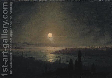 View of Constantinople at night by Ivan Konstantinovich Aivazovsky - Reproduction Oil Painting
