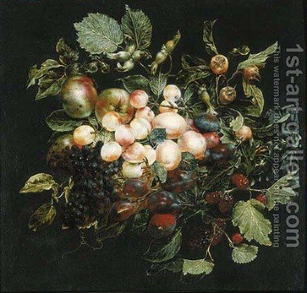 A swag of fruit hanging from a nail against a grey wall by Jan van Kessel - Reproduction Oil Painting