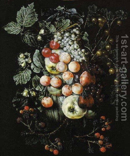 A swag of fruit hanging from a nail against a wall by Jan van Kessel - Reproduction Oil Painting