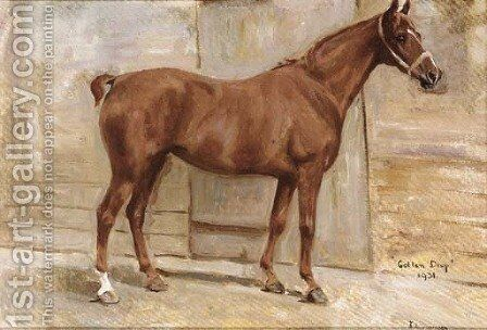 Golden Drop, a chestnut hunter in a stable by Jerome B. Thompson - Reproduction Oil Painting