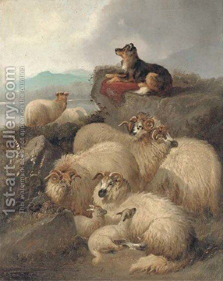 Guarding the flock by J. Morris - Reproduction Oil Painting