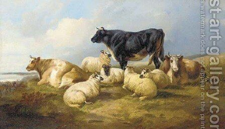 Sheep and cattle resting in a river landscape by J. Morris - Reproduction Oil Painting