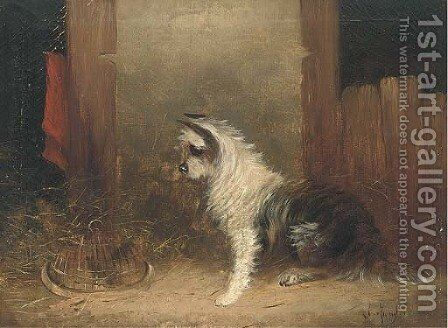 A terrier and his catch by J. Langlois - Reproduction Oil Painting