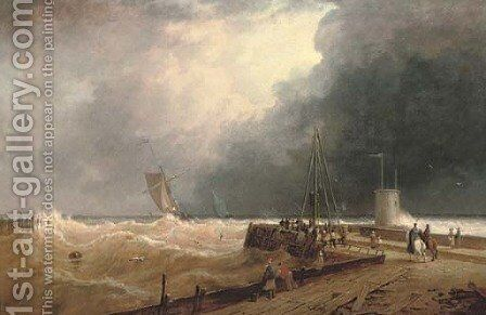 Hoisting the storm cones by James Ward - Reproduction Oil Painting
