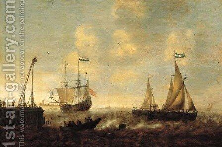 Smallships, a threemaster and a pink on a river by a jetty in a stiff breeze, a town in the distance by Jacob Adriaensz. Bellevois - Reproduction Oil Painting
