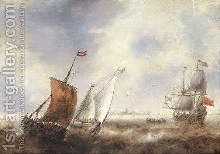 Two smalschips in stormy waters with a Dutch Man of War off the coast of a town by Jacob Adriaensz. Bellevois - Reproduction Oil Painting