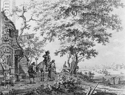 A couple offering a drink to a  cavalier and his horse by a tavern by Jacob Cats - Reproduction Oil Painting