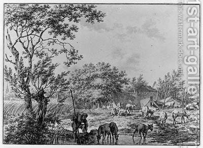 A Herdsman watering his Cattle near a Farm by Jacob Cats - Reproduction Oil Painting