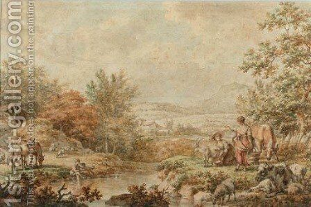 A mountainous landscape with maids milking a goat on the bank of a stream by Jacob Cats - Reproduction Oil Painting