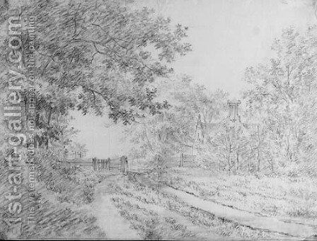 A wooded road with a fence by a house by Jacob Cats - Reproduction Oil Painting