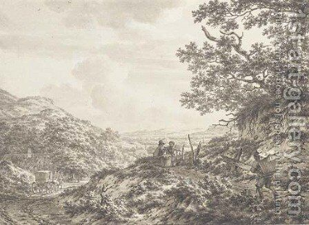 An extensive hilly landscape with figures carrying baskets by Jacob Cats - Reproduction Oil Painting