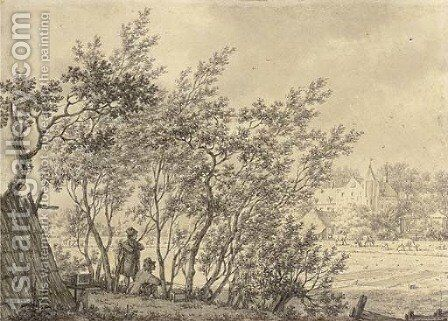 Two figures in a copse watching a bird trap, a castle beyond by Jacob Cats - Reproduction Oil Painting