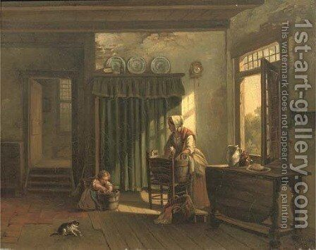 Helping mother by Jacob Dahmen - Reproduction Oil Painting