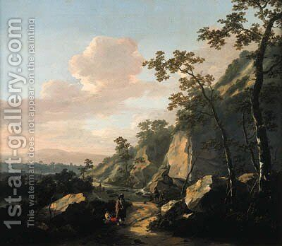 A rocky landscape with travelers on a path by Jacob De Heusch - Reproduction Oil Painting