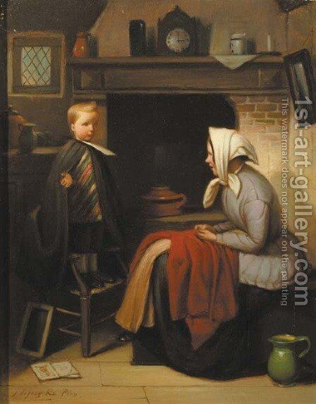 Practising the sermon by Jacob De Jong - Reproduction Oil Painting