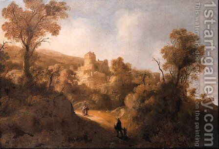 Travellers on a path in a mountainous landscape, a fortified town in the distance by Jacob De Villeers - Reproduction Oil Painting