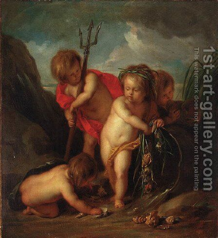 An allegory of water putti desporting with the attributes of Neptune by Jacob de Wit - Reproduction Oil Painting
