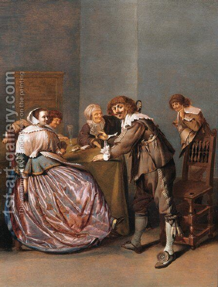 An officer and a courtesane playing cards in a brothel by Jacob Duck - Reproduction Oil Painting