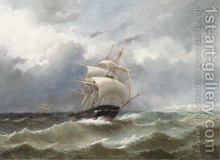 The return of the squadron of Prince Hendrik of the Netherlands by the English coast in 1847 by Jacob Eduard Van Heemskerck Van Beest - Reproduction Oil Painting
