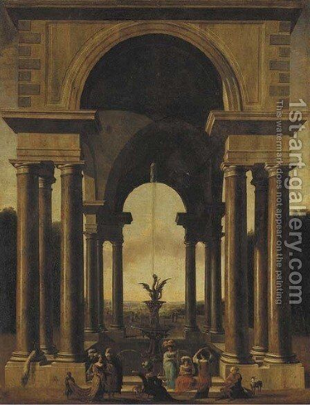 A classical portico with an elegant company gathered by a fountain by Jacobus Saeys - Reproduction Oil Painting