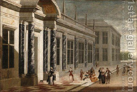 Elegant Figures on the Terrace of a Palace by Jacobus Saeys - Reproduction Oil Painting