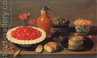 Wild strawberries in a porcelain bowl with carnations by Jacob Fopsen van Es - Reproduction Oil Painting