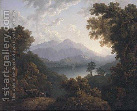 A log cart in a lake landscape by Jacob George Strutt - Reproduction Oil Painting