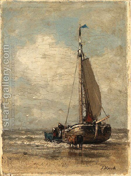 A ship entering shore by Jacob Henricus Maris - Reproduction Oil Painting
