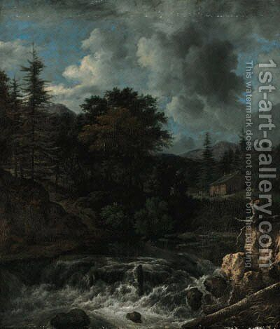 A torrent in a Scandinavian wooded landscape, a cottage beyond by Jacob Van Ruisdael - Reproduction Oil Painting