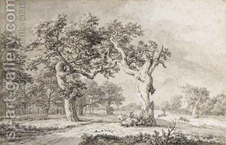 Two oak trees in an extensive landscape by Jacob Van Ruisdael - Reproduction Oil Painting