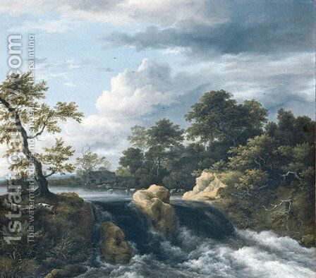 A river Landscape with a Waterfall by Jacob Van Ruisdael - Reproduction Oil Painting