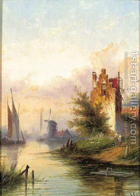 A river landscape with a fortified mansion by Jan Jacob Coenraad Spohler - Reproduction Oil Painting