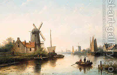 A river landscape with villagers in rowing boat and sailing barges, at dusk by Jan Jacob Coenraad Spohler - Reproduction Oil Painting