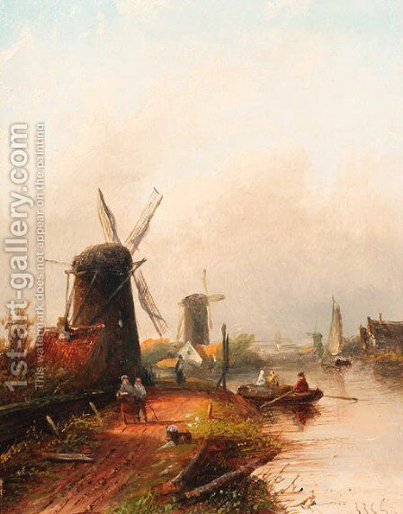 River landscape with windmills by Jan Jacob Coenraad Spohler - Reproduction Oil Painting